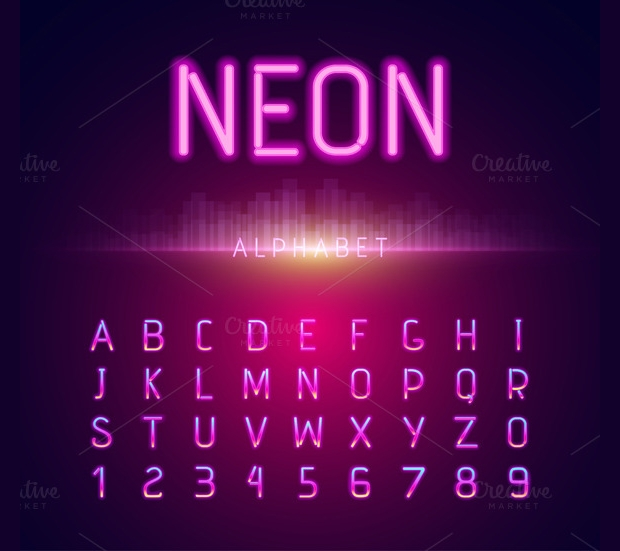 neon alphabet font style