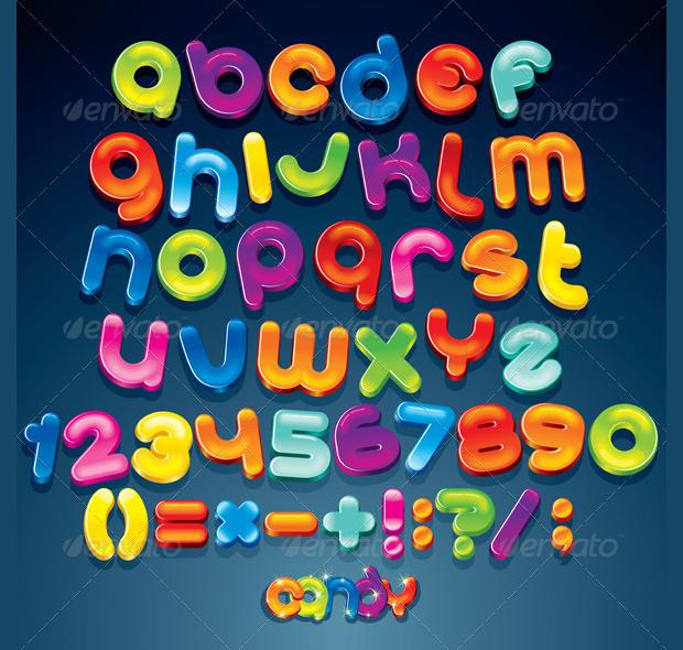 Cartoon Shiny Alphabet Font