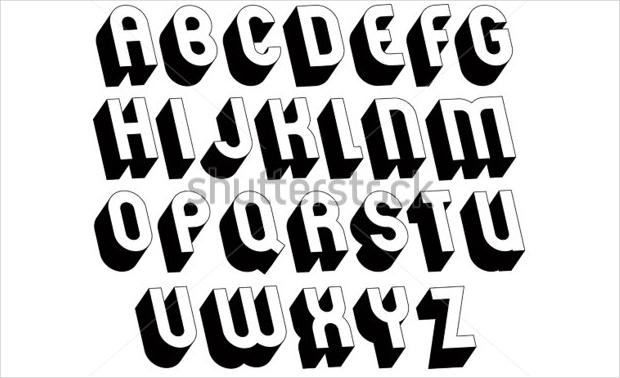 black and white 3d alphabet font