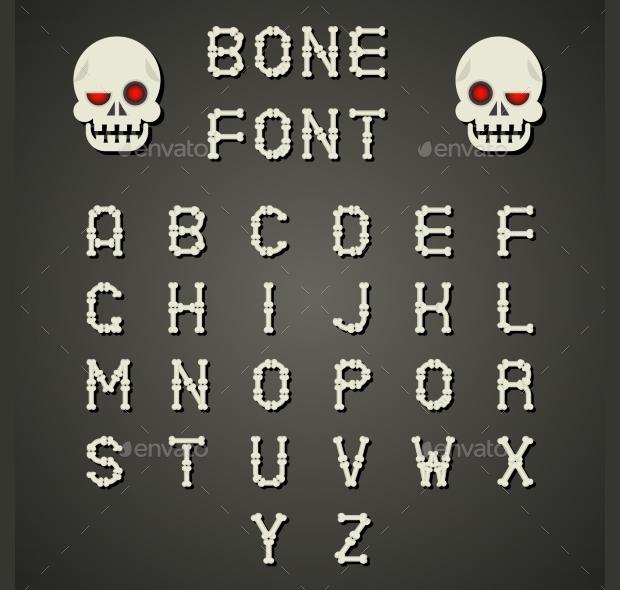 bone alphabet font