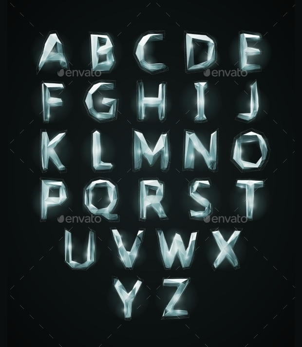 low poly crystal alphabet font