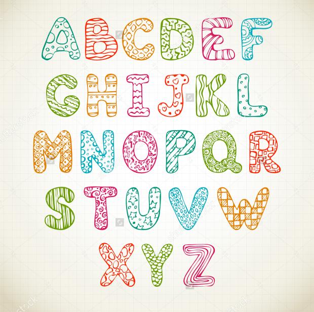 doodle funny hand drawn alphabet font