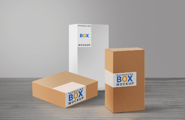 Packaging Boxes PSD Mockup