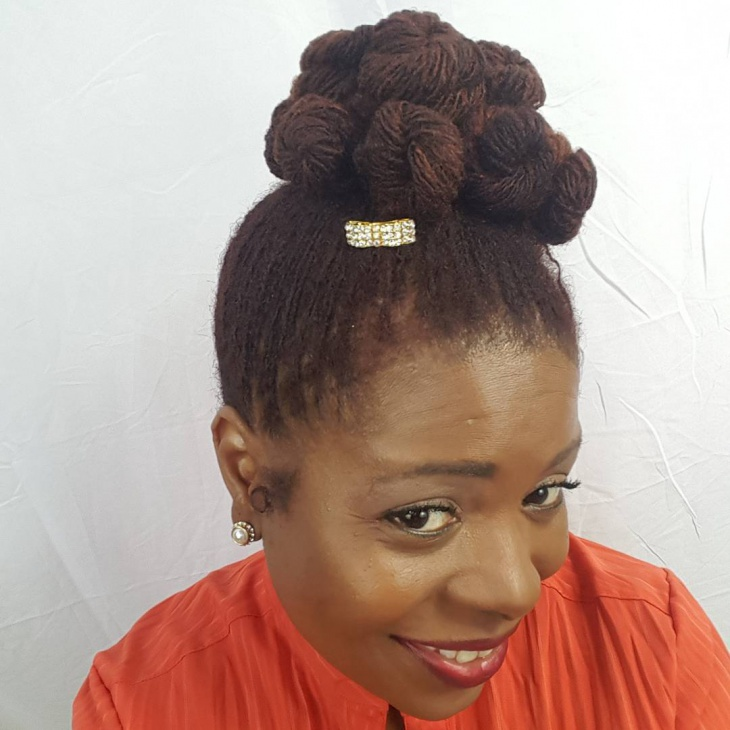 Sisterlocks Top Knot Bun Hairstyle