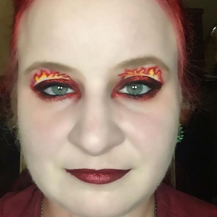red fire glitter makeup