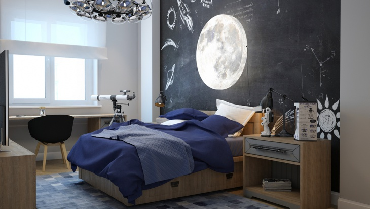 Kids Bed Wall Decal with Moon Light