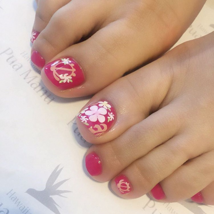hawaiian toe nail art design