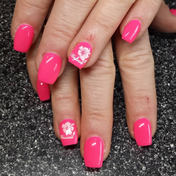 hawaiian gel nail design idea