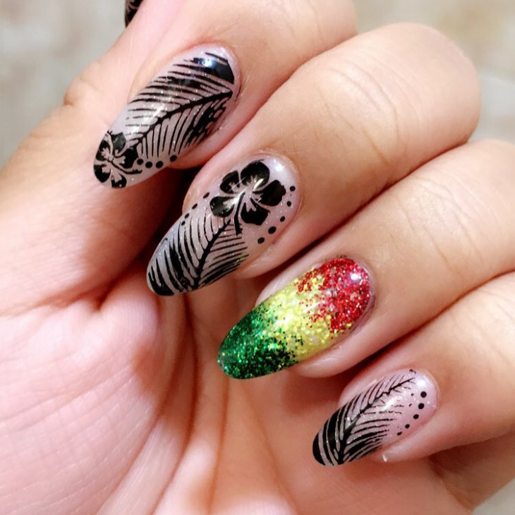 hawaiian acrylic nails