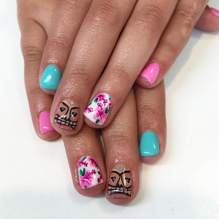 pink hawaiian nail design