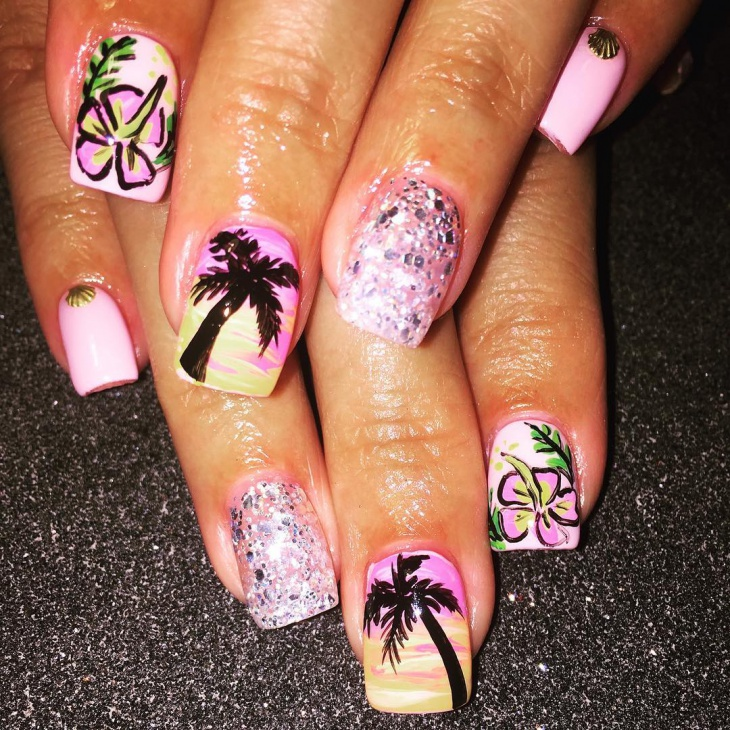 beautiful hawaiian nails design