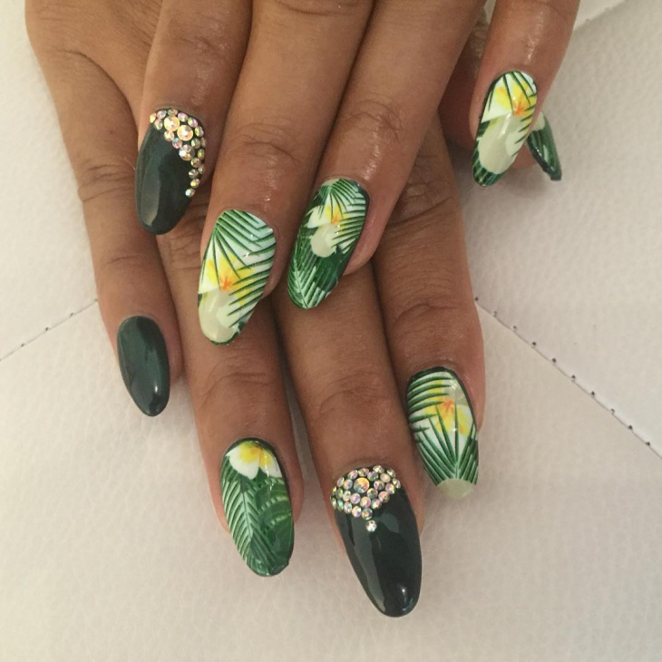 hawaiian nail art for long nails