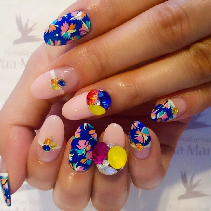 colorful hawaiian nail design