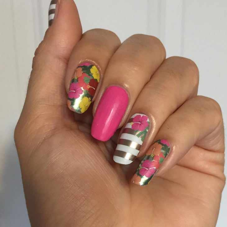 diy hawaiian nail art