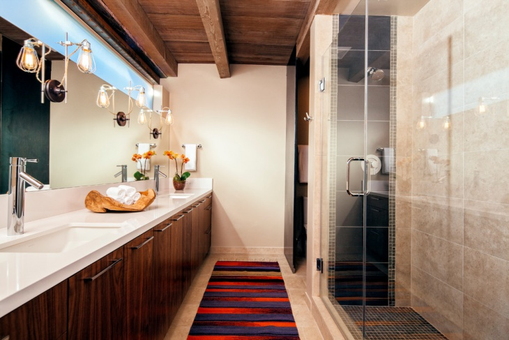 Narrow Bathroom Wooden Interiors