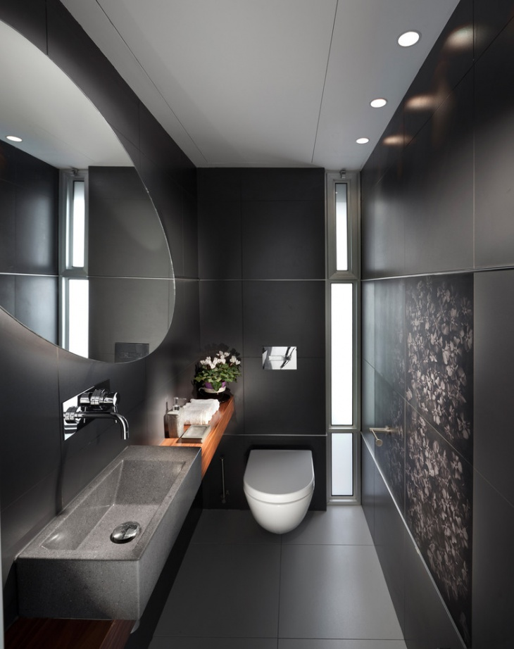 Gray Rectangular Bathroom Design