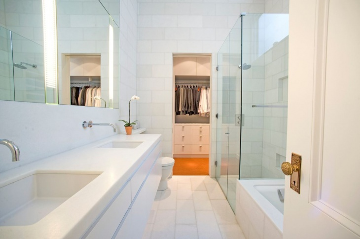 Rectangular Bathroom Glass Shower Idea