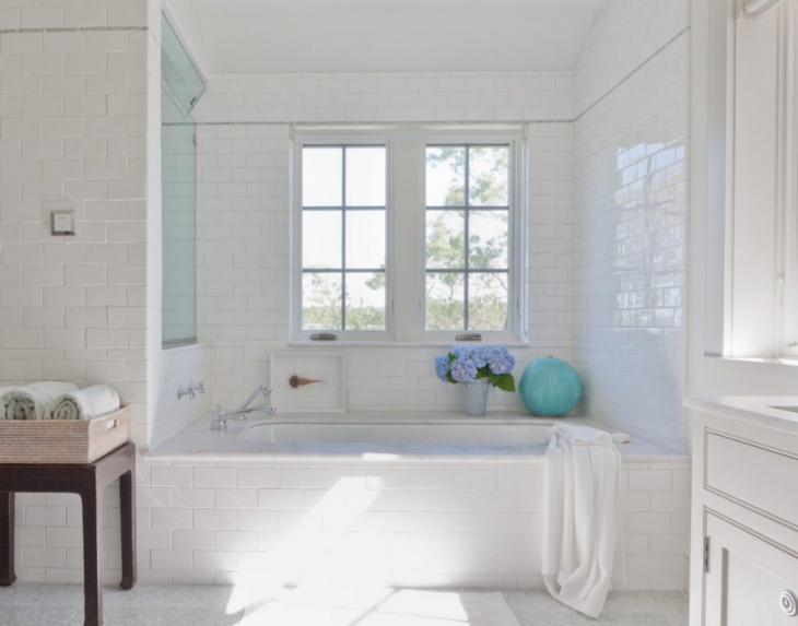 Rectangular Bathroom White Wall Tiles