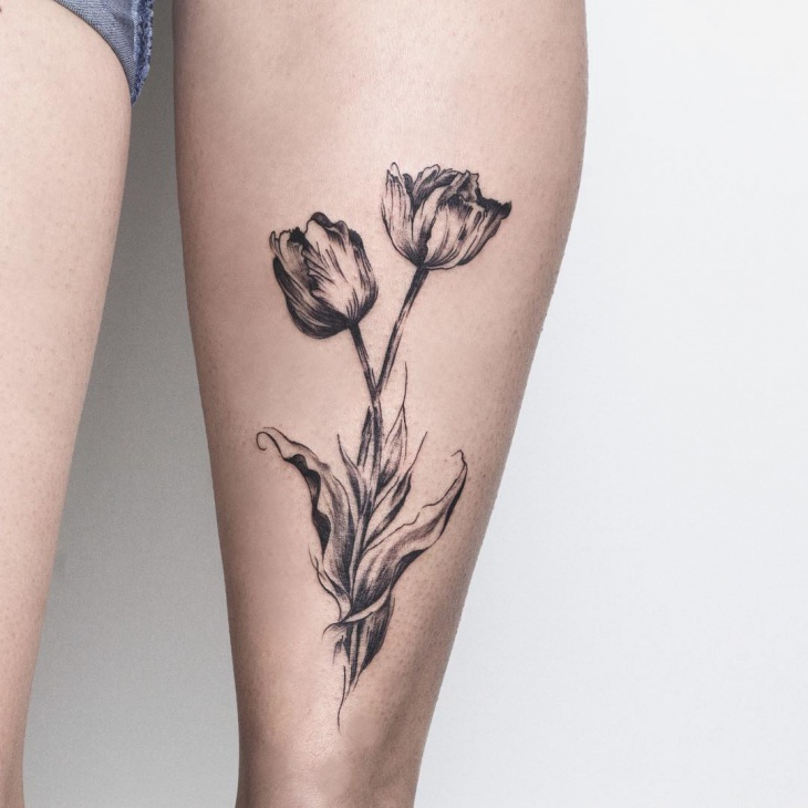 black work tulip tattoo design