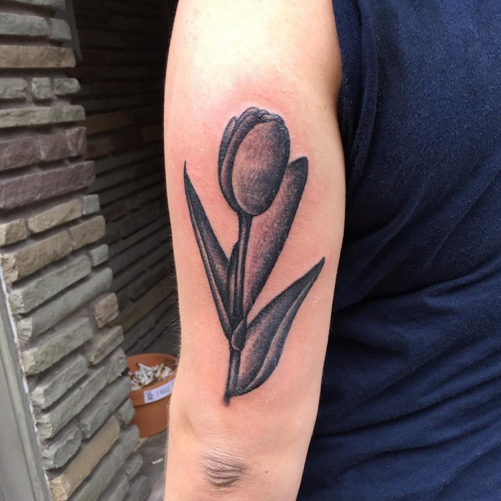 floral tulip tattoo idea