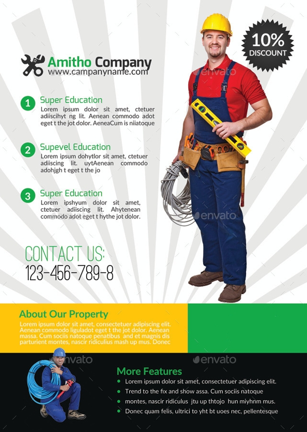 Editable Handyman and Plumber Service Flyer Template