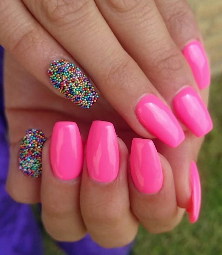 multicolored caviar nail art design
