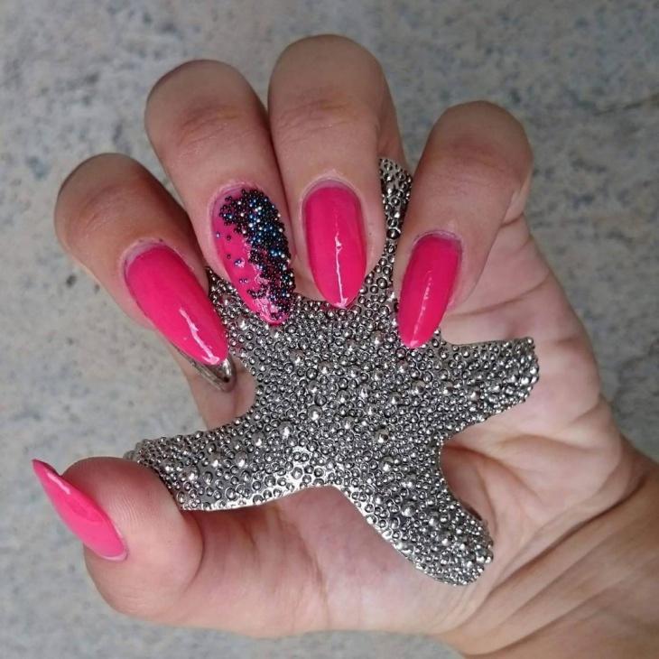 pink color caviar nail art