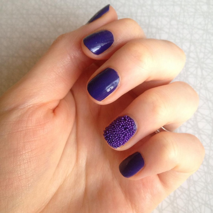 Navy Blue Beads Nail Design