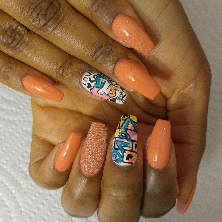 orange color graffiti nail design