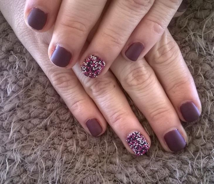 purple nail art for short nails