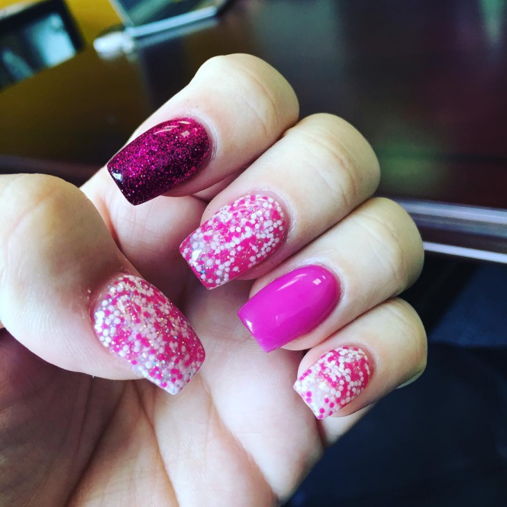 pink color glitter nail art design