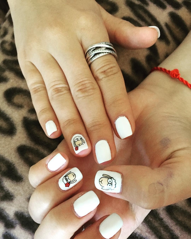 Cute Sheep Nail Design