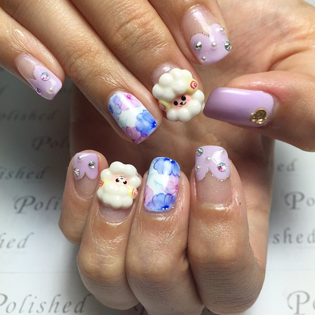 3d Sheep Nail Art