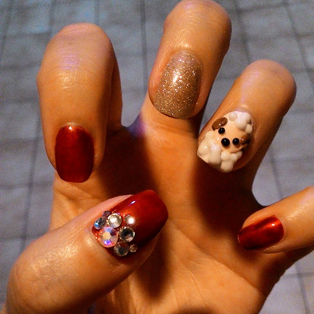 Rhinestone Sheep Nail Art