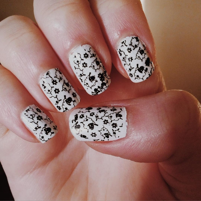 Black and White Sheep Nails