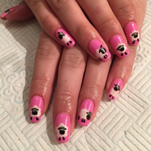 Pink Sheep Nail Art Idea