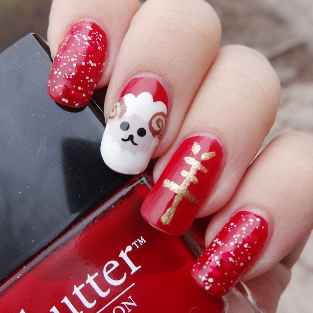 Red and Gold Sheep Nail Art