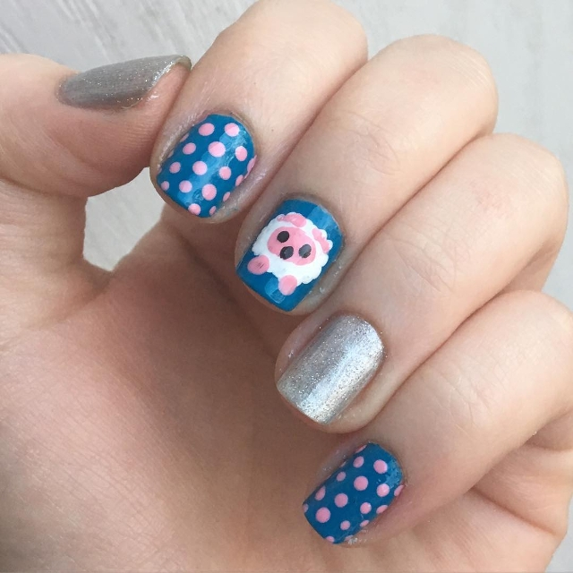 Dotted Sheep Nail Art