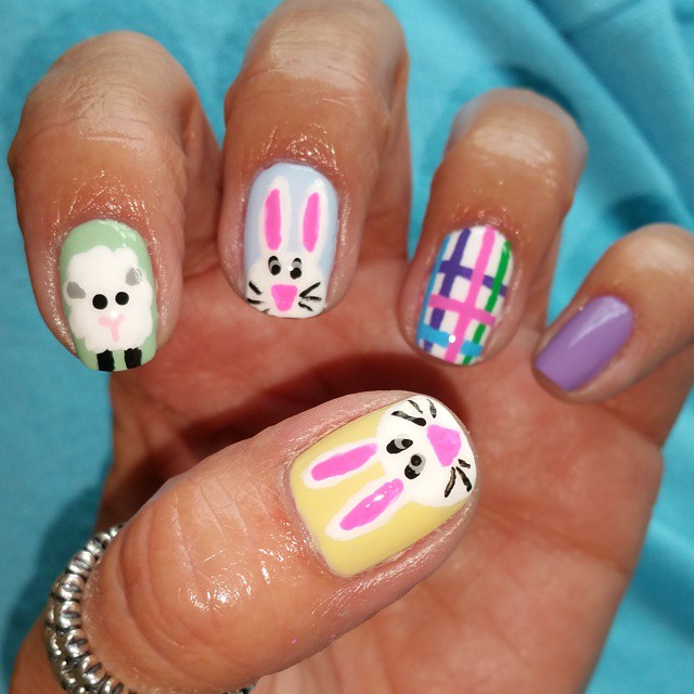 Sheep with Bunny Nail Art