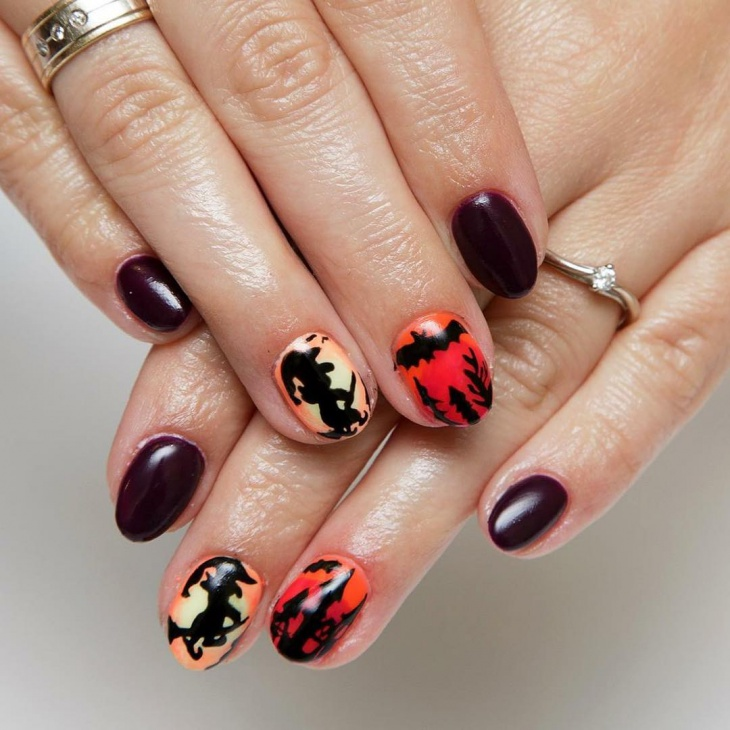 bat nail art for short nails