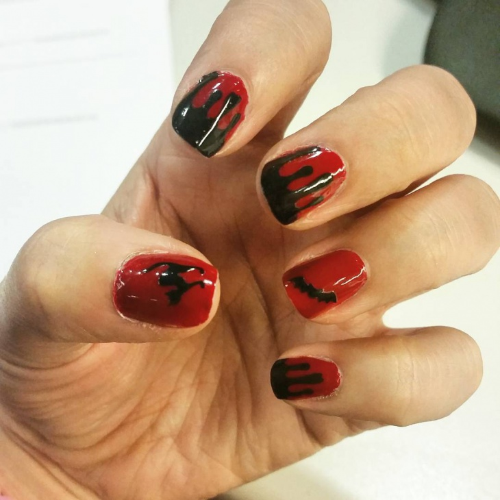vampire bat nail art