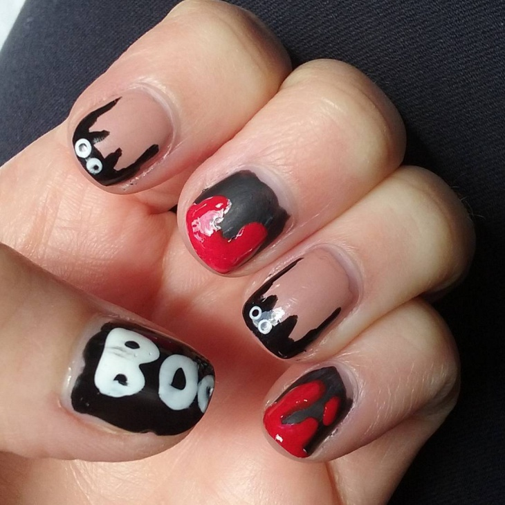blood splatter bats nail art