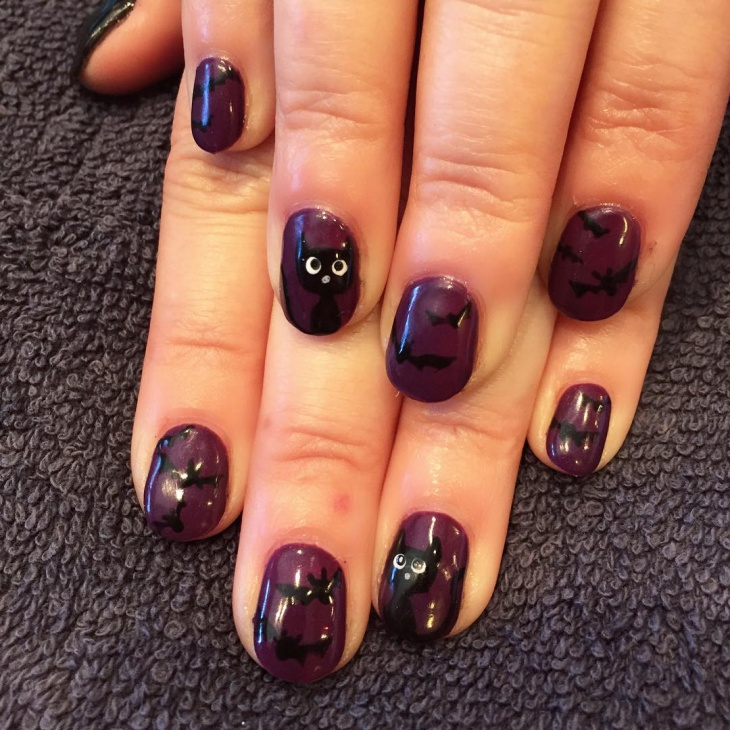 cat and bat nail art