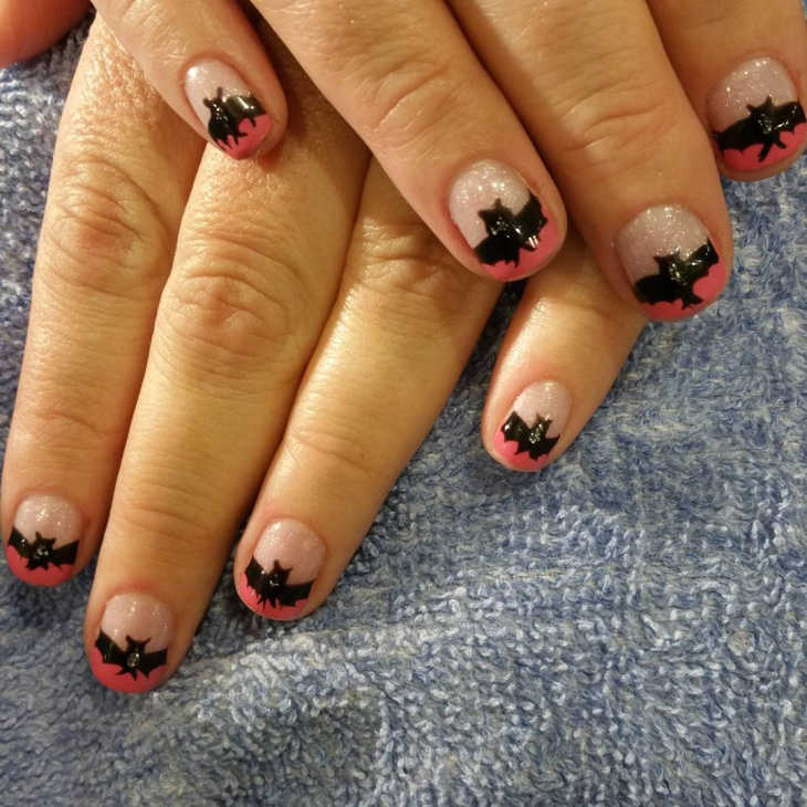 short bat nail art