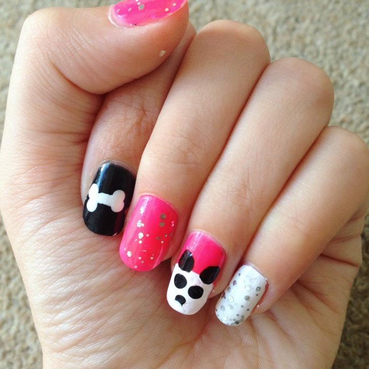 Dog Face Nail Design Idea