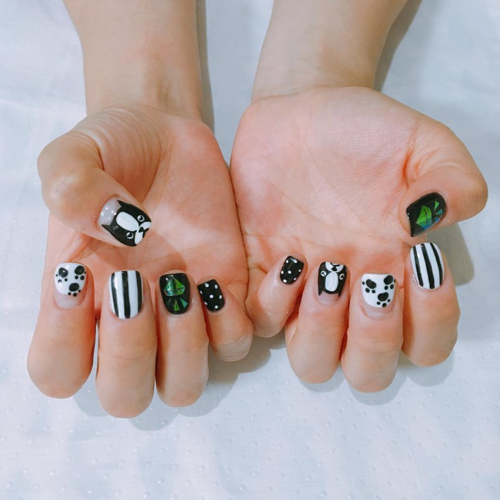 Black and White Dog Nail Art