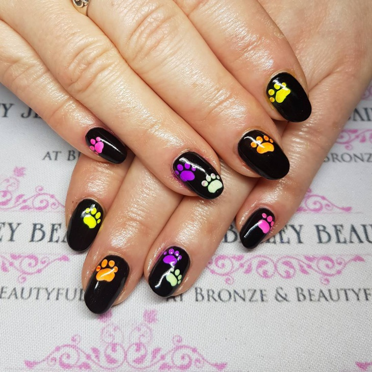 Colorful Dog Paw Nail Design