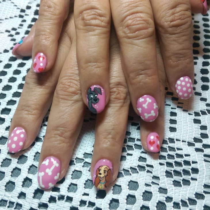 Cartoon Dog Nail Design