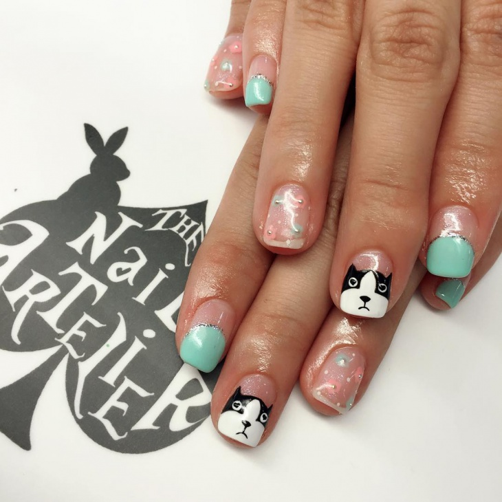 Dog Nail Art for Medium Nails