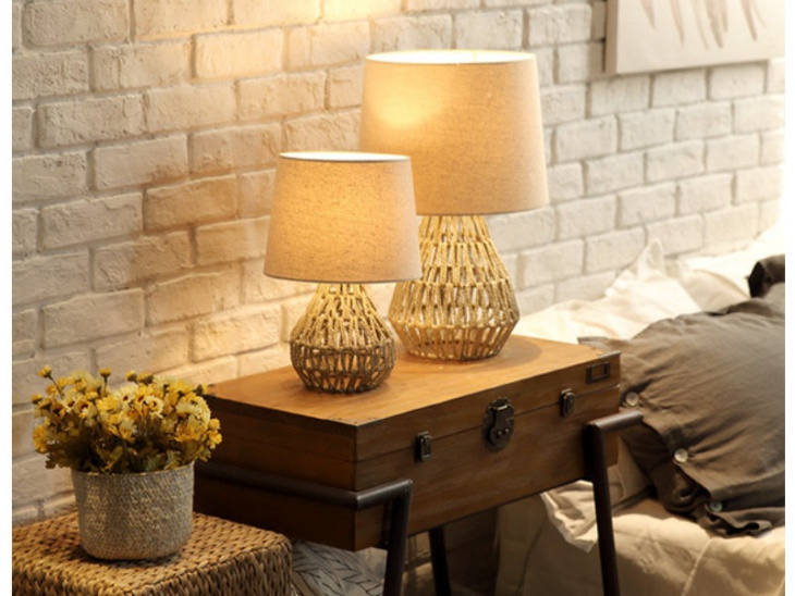 handmade rope modern table lamp